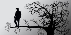 Picture depicts a man standing on a limb of a tree